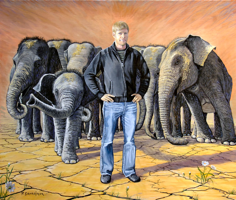 Elephant, Elefant, Elefante, Painting by Peter Gerasimon